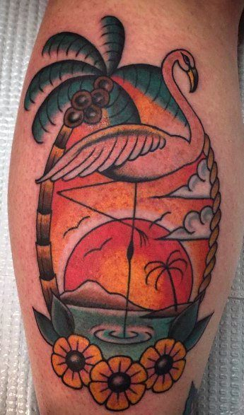 Flamingo Tattoo With Flower, Sun, Trees. Clouds, Birds and Sky