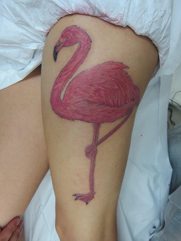 Pink Flamingo Tattoo On Leg Thigh Woman