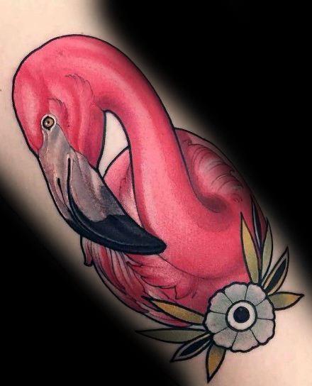 Flamingo Tattoo With Flower