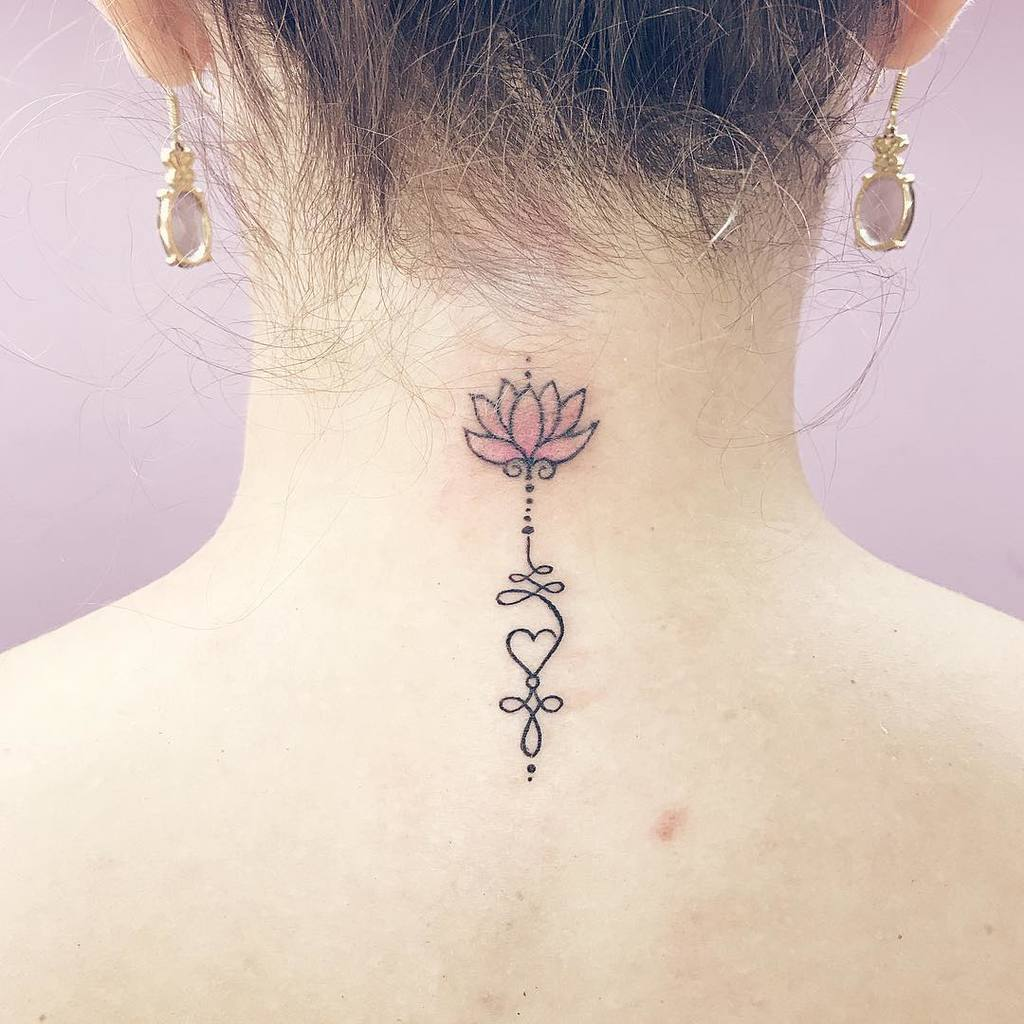 Unalome with lotus and heart tattoo on neck.