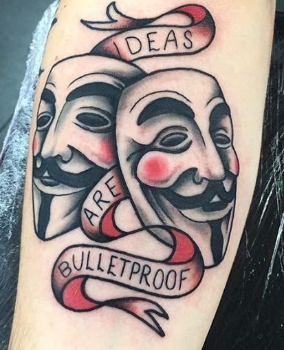 V for Vendetta Mask Tattoo On Hand