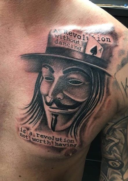 V for Vendetta Mask Tattoo With Quote