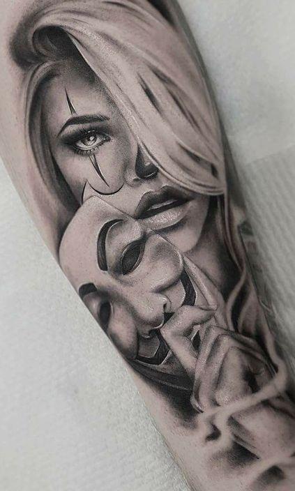 V for Vendetta Mask Tattoo And Girl