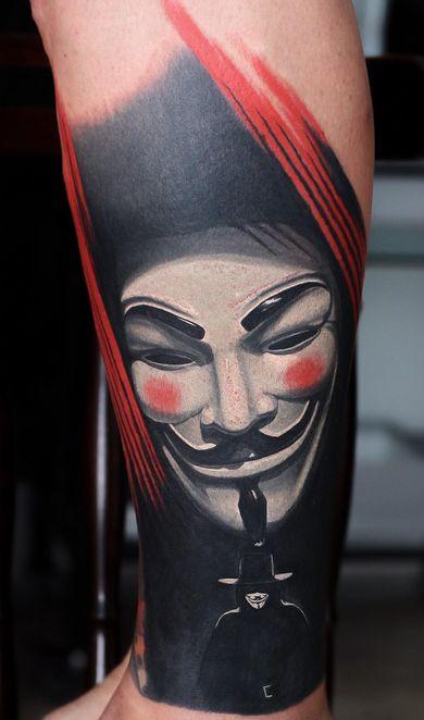 V for Vendetta Mask Tattoo Sleeve