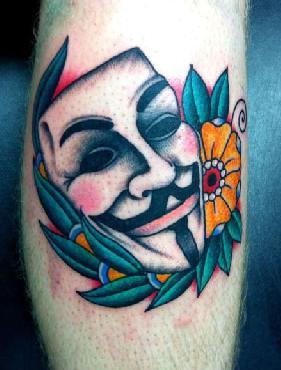 V for Vendetta Mask Tattoo WIth Flower