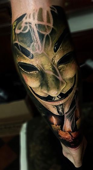 V for Vendetta Mask Tattoo With Candle