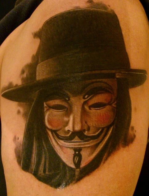 V for Vendetta Mask With Hat Tattoo