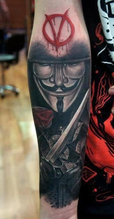 V for Vendetta Mask with Sword Tattoo