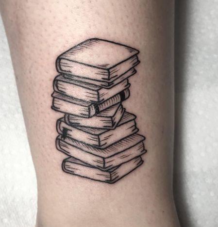 Stack Of Books Tattoo