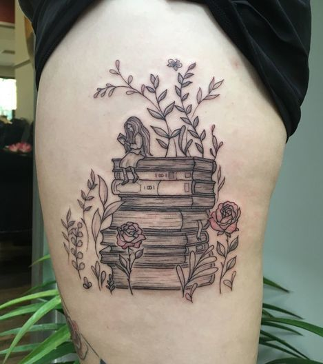 Stack Of Book With Flowers, Leaves and A Girl Sitting On It Tattoo On Thigh.