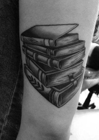 Stack Of Books Tattoo.