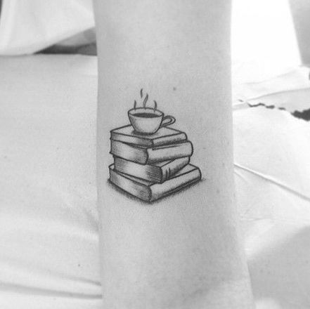 Stack Of Book and A Cup On Top Of It Tattoo.