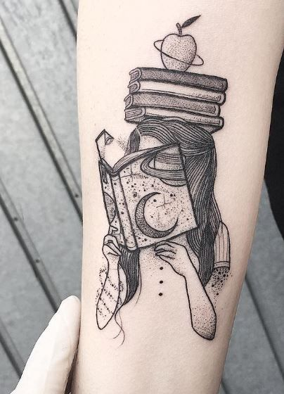 A Girl Reading Book Having Stack Of Books On Her Head and An Apple On Top Of The Stack Tattoo.