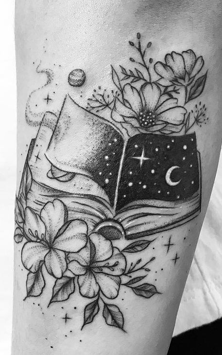 Open Book With Crescent Moon, Stars, Flowers and Leaves Tattoo.
