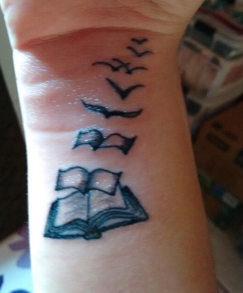 Book Pages and Birds Tattoo