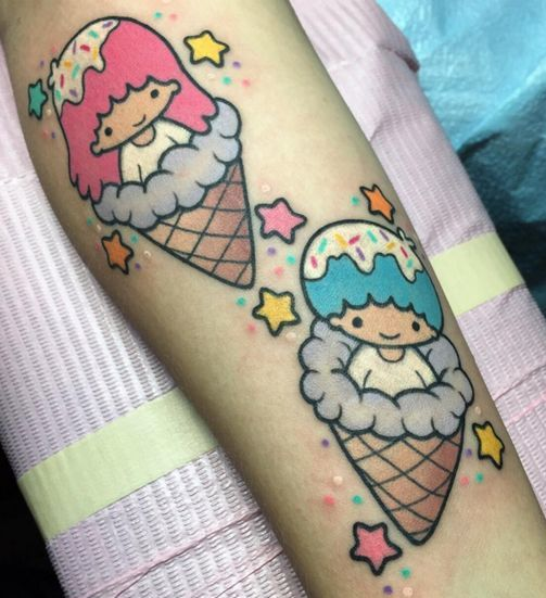 Ice Cream Cone with a boy and a girl tattoo on hand