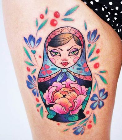 Matryoshka Doll Tattoo On Thigh