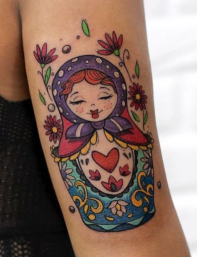 Matryoshka Doll Tattoo Back Of Hand Woman