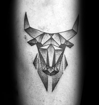 Origami Bull Tattoo On Hand