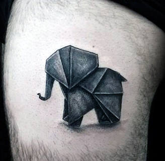 Origami Elephant Tattoo On Thigh Of A Man