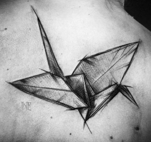 Origami Crane Tattoo On Back