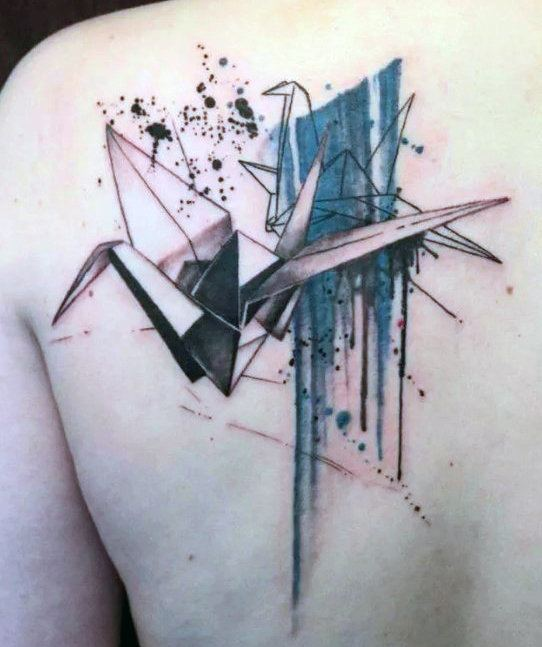 Origami Crane Tattoo Water Color.