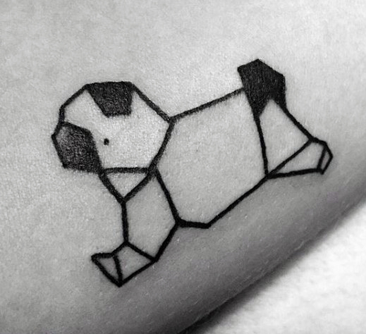 Cute Small Origami Dog Tattoo