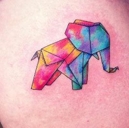 Origami Elephant Watercolor Tattoo