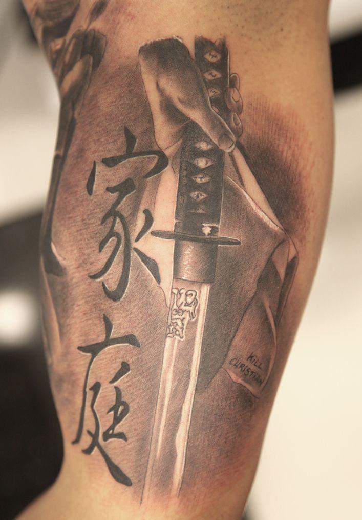Katana Tattoo On Hand