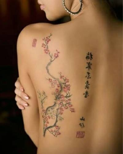 Japanese Kanji Tattoo On Back Of A Woman