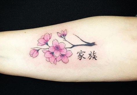 Japanese Kanji Tattoo With Pink Flower On Forearm