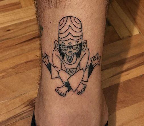 Mojo Jojo Powerpuff Girls Tattoo on Leg