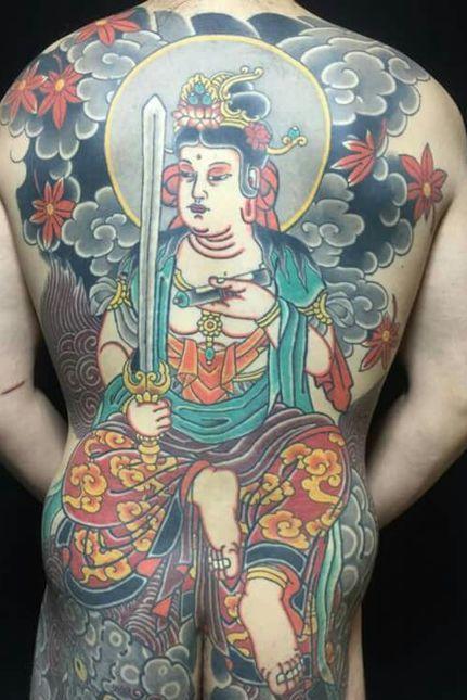 Monju Bosatsu Tattoo On Back