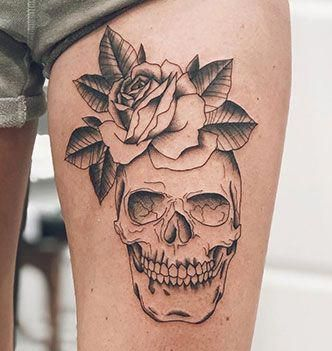 Rose And Skull Tattoo On Thigh Of A Woman