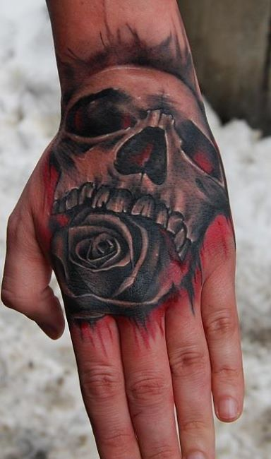 Rose And Skull Tattoo On Hand