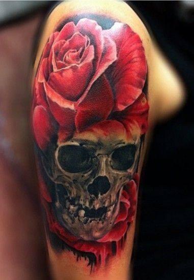 Rose And Skull Tattoo On Shoulder