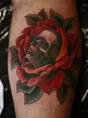 Rose And Skull Tattoo On Leg
