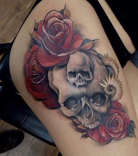 Rose And Skull Tattoo On Side Butt Of A Woman