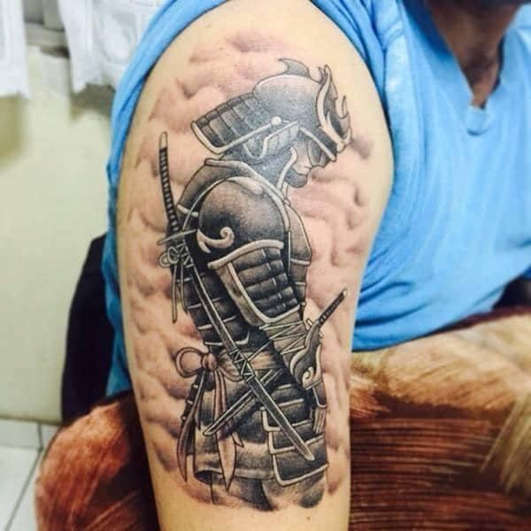 Japanese Samurai Tattoo On Bicep Of A Man