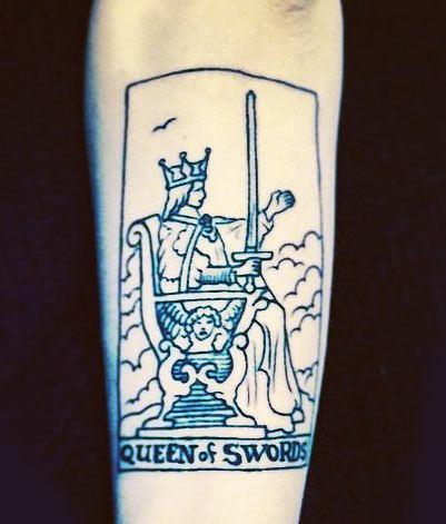 Sword Tarot Card Tattoo On Hand