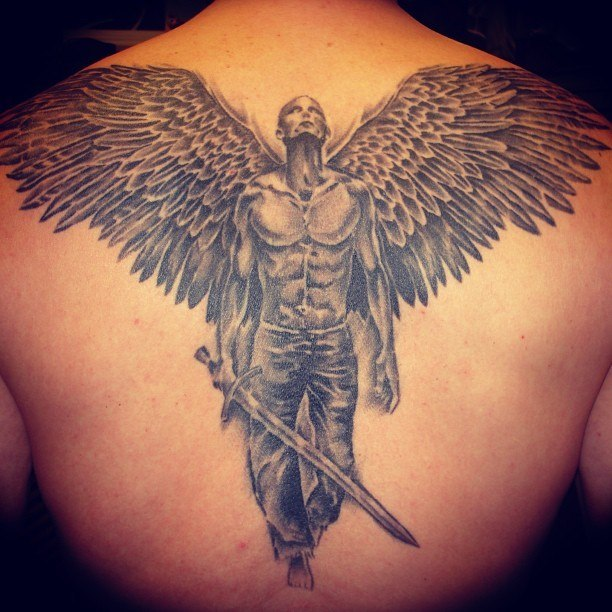 Swords Tattoo With Angel