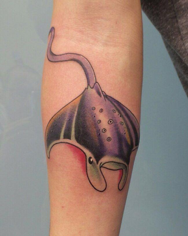 stingray tattoo in elbow