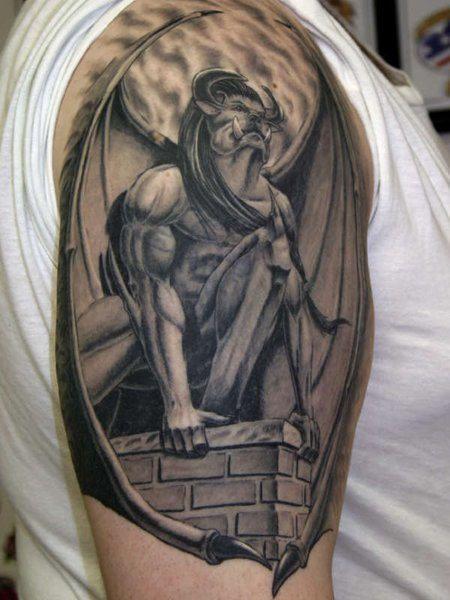 Gargoyle Tattoos For Men on Shoulder