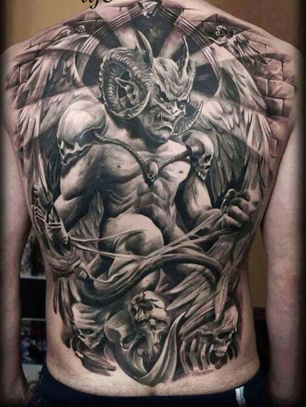 Gargoyle Tattoo for Men at Back