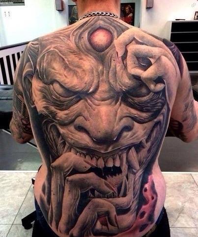 Gargoyle Tattoo for Men on its Back