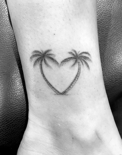 Palm Tree Tattoo Heart Shaped On Ankle