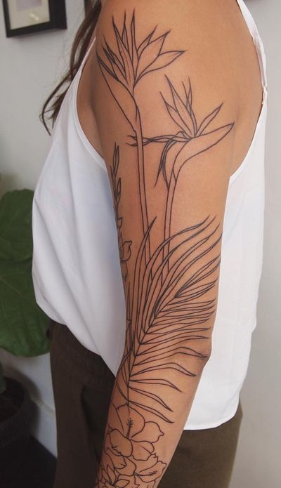 Plant Tattoo On Hand Of A Girl