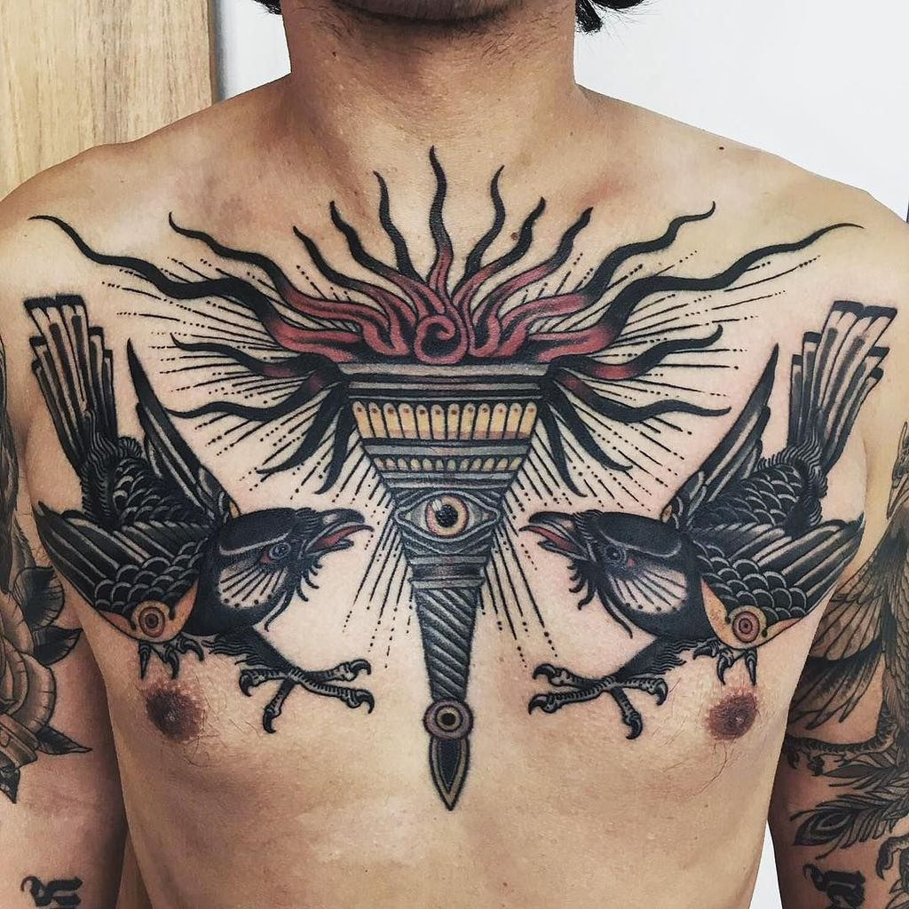 Fire Torch Tattoo on chest