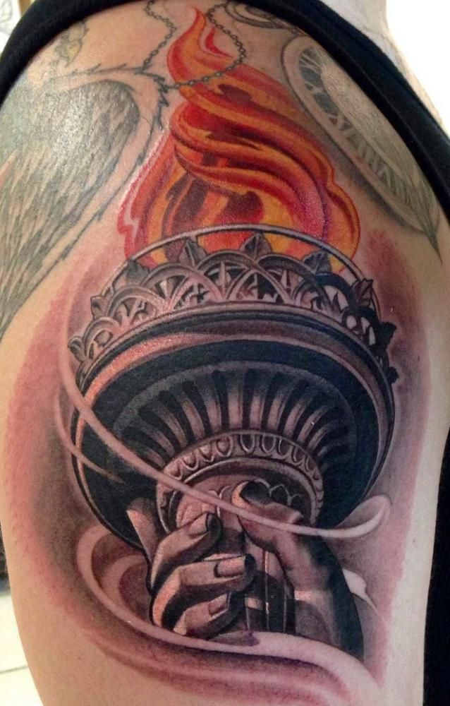Fire Torch Tattoo on shoulder