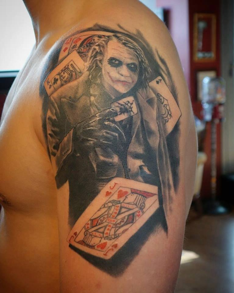 Joker Tattoo with cards on shoulder